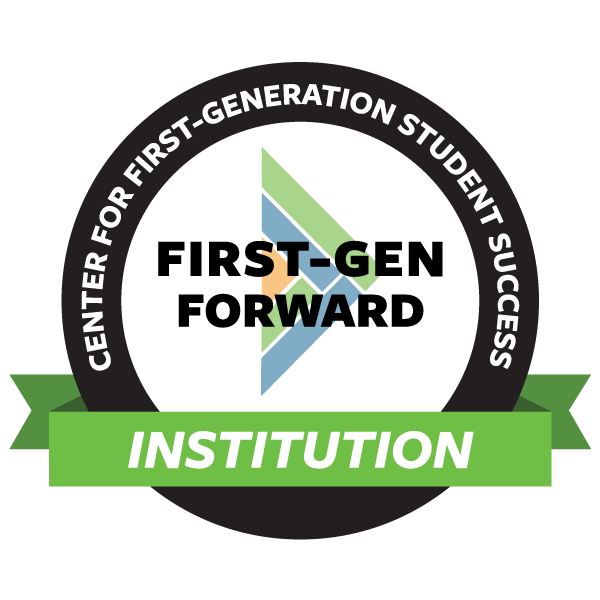 "Circular graphic with words, ""Center for First-Generation Student Success: First-Gen Forward Institution"""